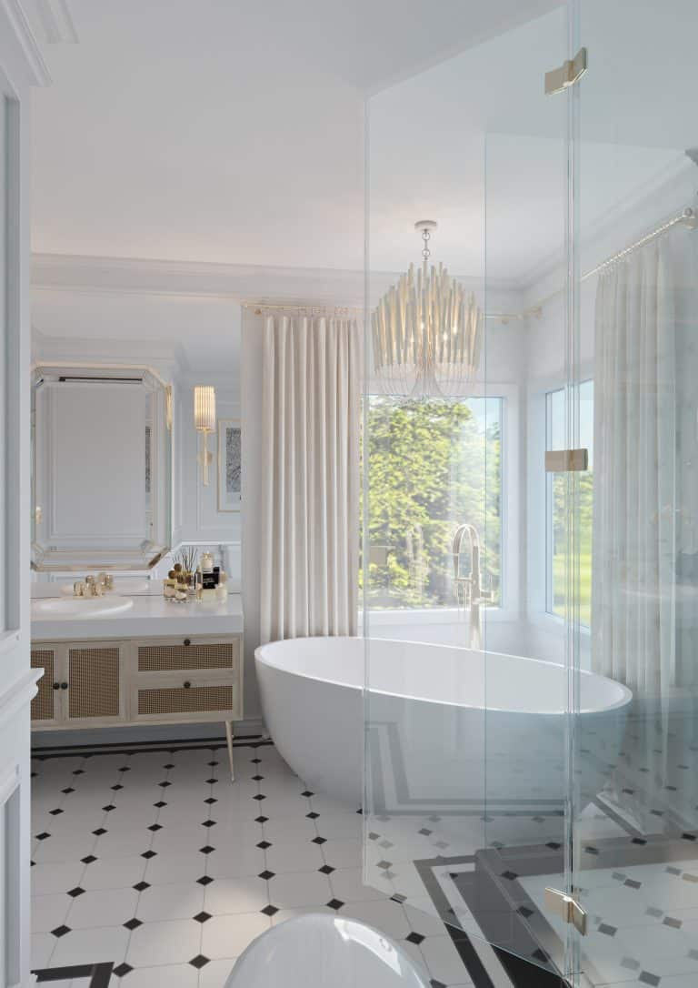 French art-deco style hotel suite bathroom with white and black colour palette and glass, wood and tile accents
